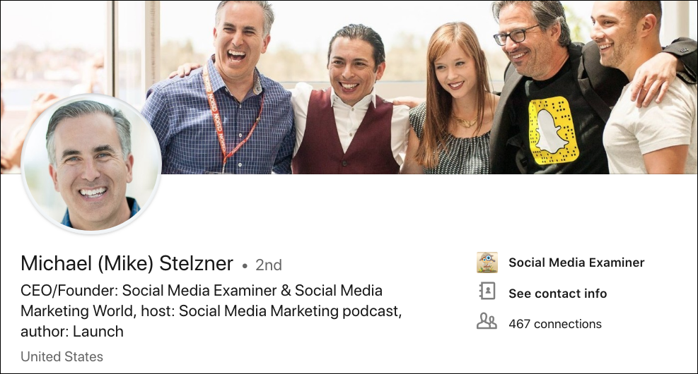 Mike Stelzner LinkedIn Cover Image - LinkedIn Image sizes