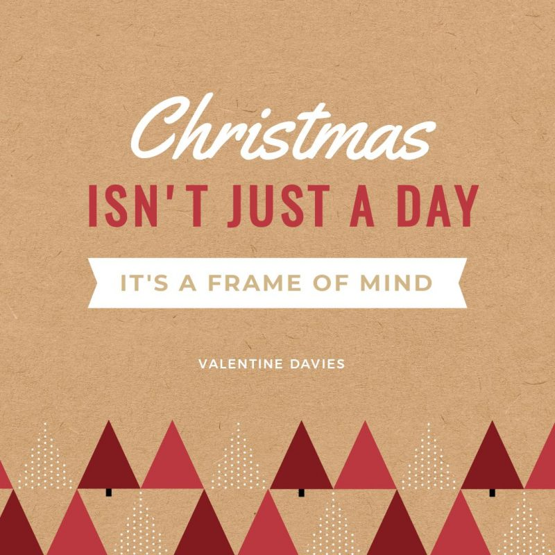 25 Christmas Quotes for Festive Holiday Social Media Posts - Christmas trees on brown paper background