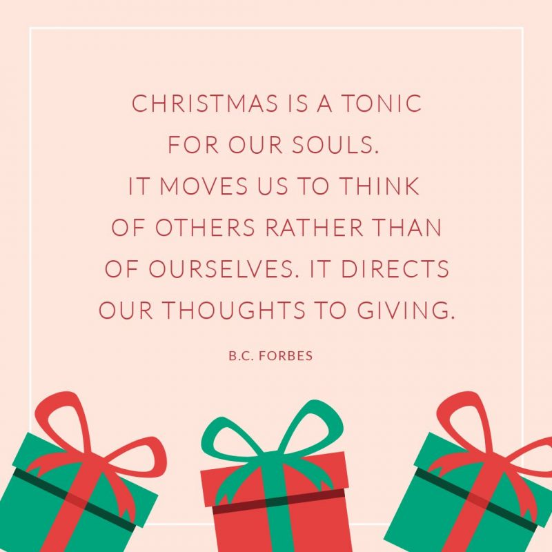 25 Christmas Quotes for Festive Holiday Social Media Posts - Quote graphic BC Forbes