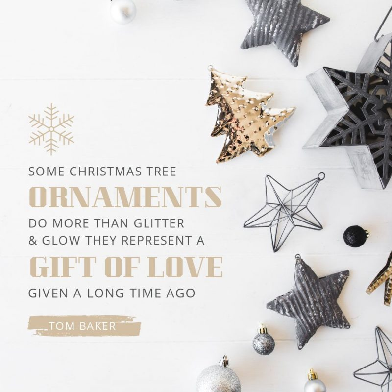 25 Christmas Quotes for Festive Holiday Social Media Posts - beautiful graphic with Christmas Flatlay image background