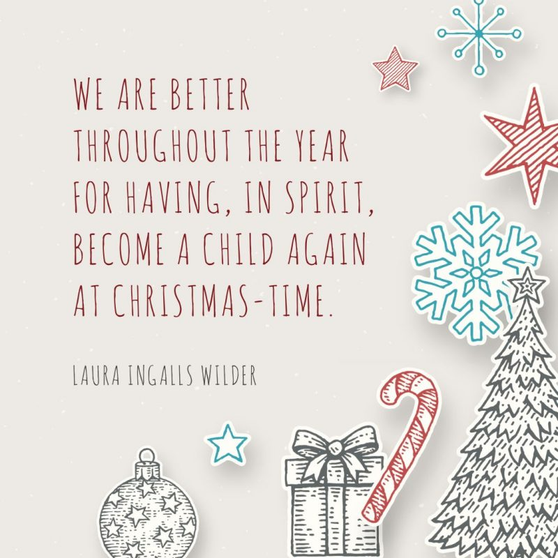 25 Christmas Quotes for Festive Holiday Social Media Posts - Template with illustrated Christmas elements