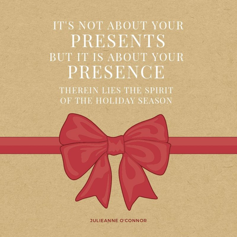25 Christmas Quotes for Festive Holiday Social Media Posts - red bow graphic on brown paper background