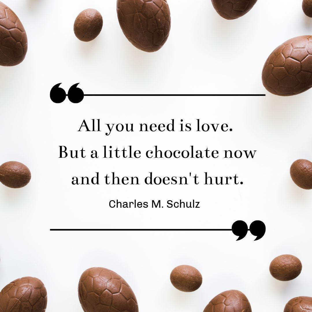 All you need is love and chocolate quote by Easil - January Content Calendar Ideas + Templates