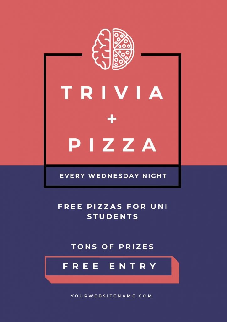 Trivia and Pizza Template by Easil - January Content Calendar Ideas + Templates