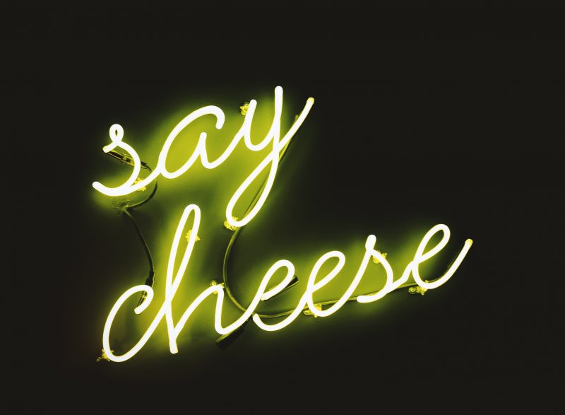 Say Cheese Neon Image - January Content Calendar Ideas + Templates