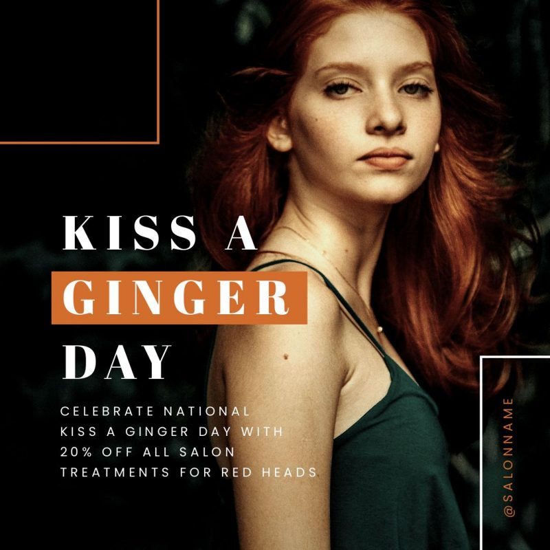 Kiss a Ginger Day Image - Try our January Content Calendar Ideas + Templates