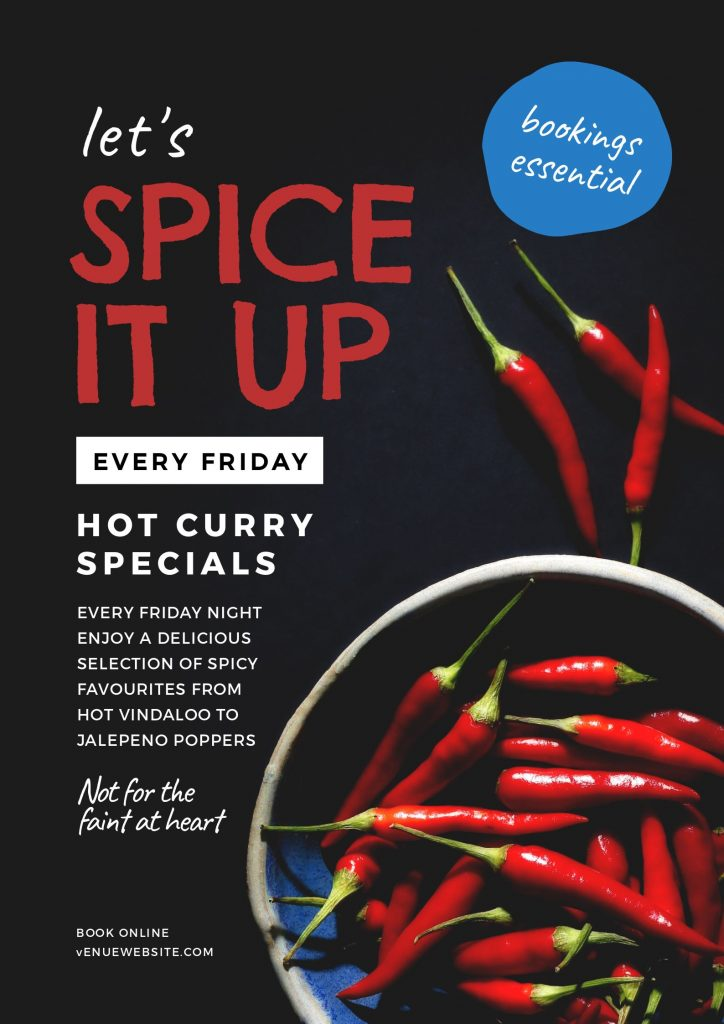 Spice it up Curry Night Template by Easil January Content Calendar Ideas + Templates