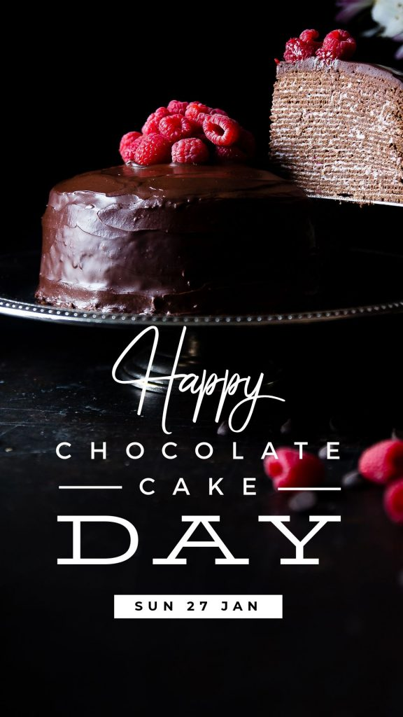 Chocolate Cake Day Template by Easil - January Content Calendar Ideas + Templates