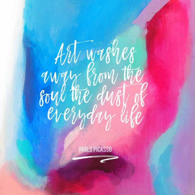 Pablo Picasso Art Quote Template by Easil - January Content Calendar Ideas + Templates