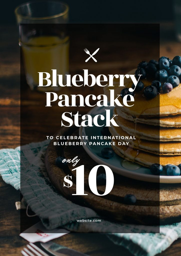 Blueberry Pancake Day Template by Easil - January Content Calendar Ideas + Templates