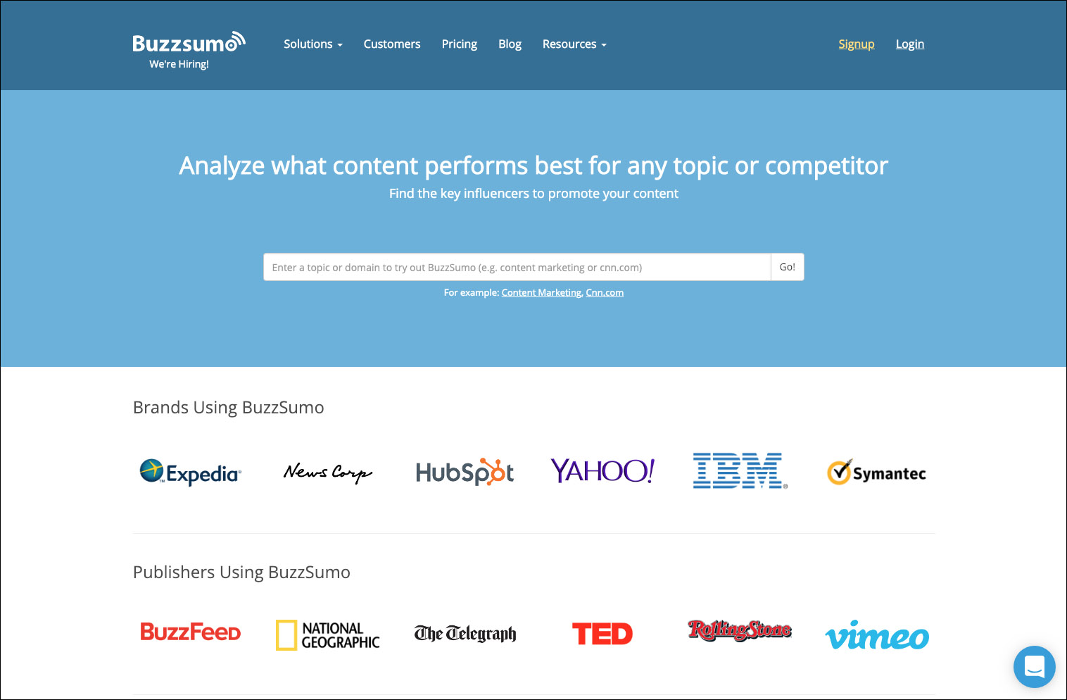 BuzzSumo Home Page - 10 Ways to find Inspiring Visual Content Ideas for Social Media =