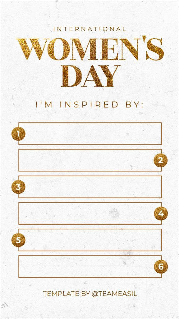 International Women's Day Instagram Story template - March Content Calendar Ideas + Templates