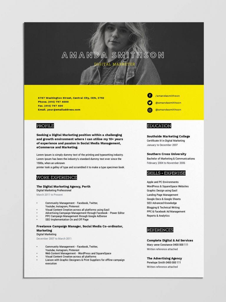 Free resume templates by Easil - Bright Yellow & Black template with full width hero photo