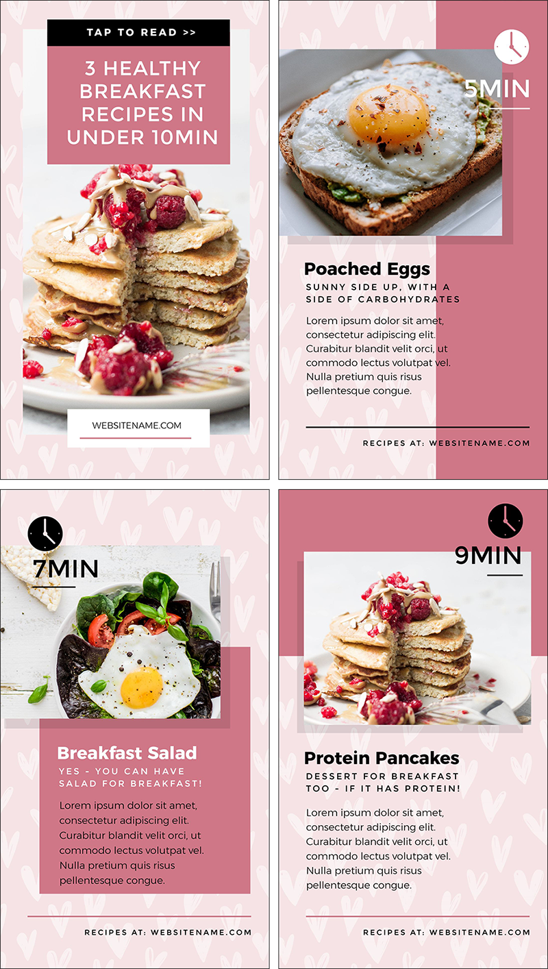 Healthy Breakfast Recipes Instagram Stories Design in Easil - Instagram Story Template Designs 10 Ways - Hack Your Visual Design Series