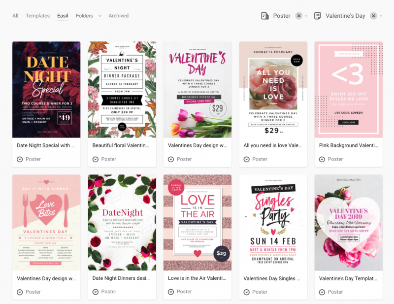 Easil Dashboard - Valentine's Day Templates - 10 Ways to find Inspiring Visual Content Ideas for Social Media