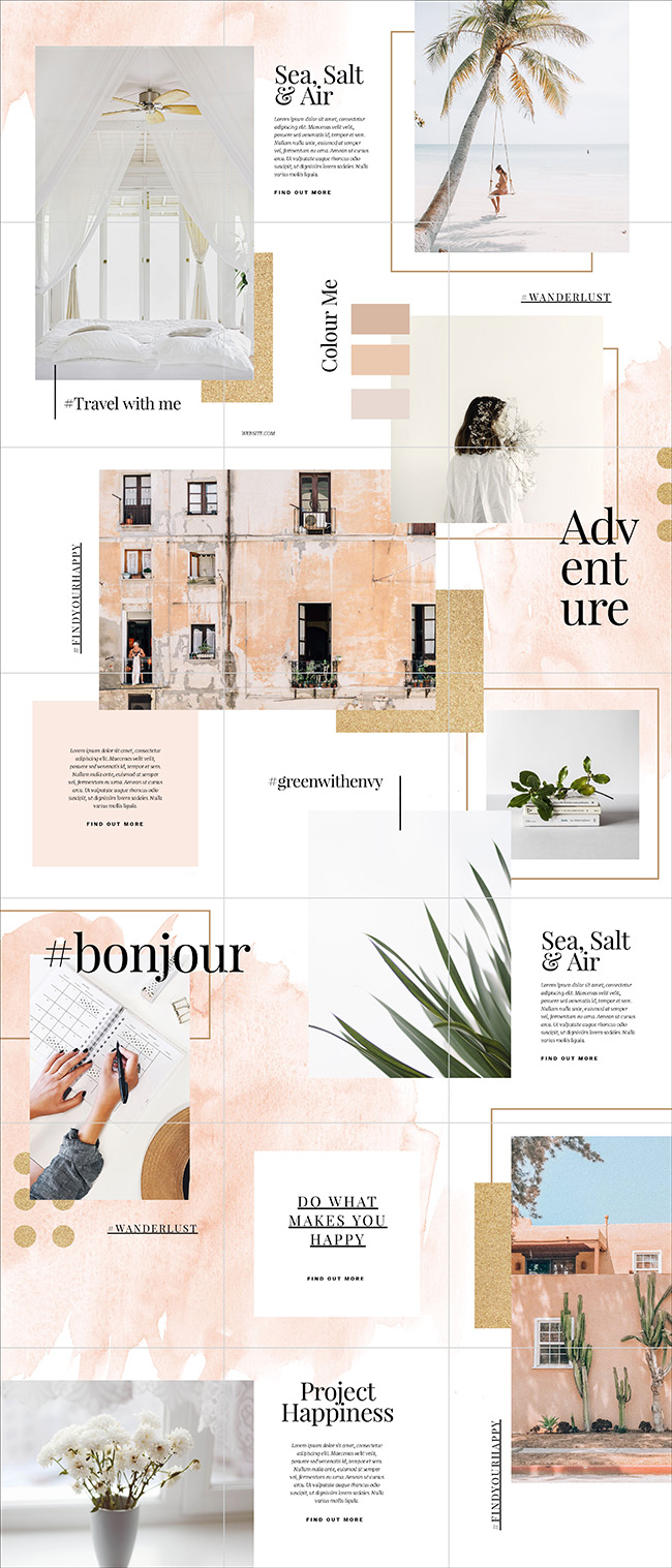Glittery Gold and Soft Pastels Instagram Puzzle Feed Template by Easil