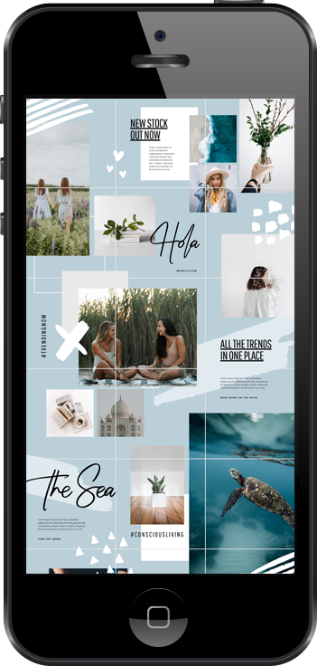 Blue Hues Instagram Puzzle Feed Free Template by Easil.