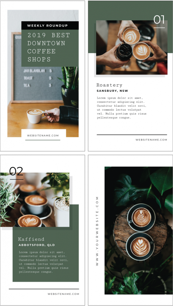 2019 Best Downtown Coffee Shops - Instagram Story Template Designs 10 Ways - Hack Your Visual Design Series