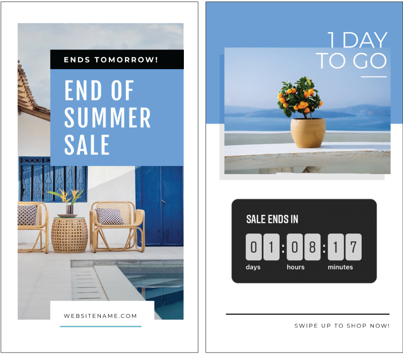 Instagram Stories end of Summar Sale Design in Easil - Instagram Story Template Designs 10 Ways - Hack Your Visual Design Series