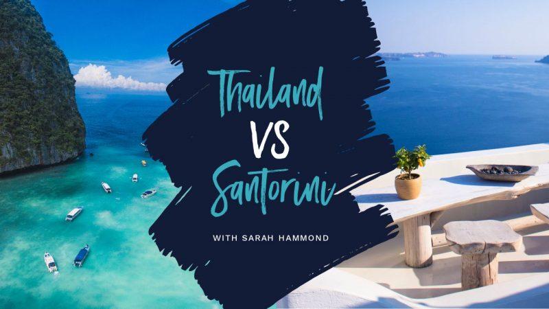 Thailand vs Santorini YouTube Thumbnail Template by Easil