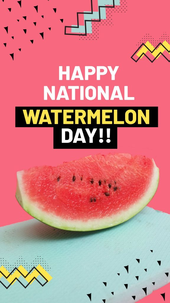 Happy National Watermelon Day Template by Easil - August Content Calendar Ideas and Templates.