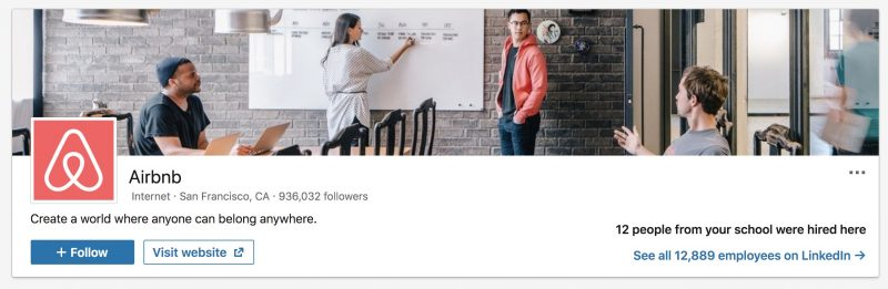 Airbnb Company - LinkedIn Image Size Example