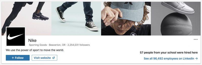 Nike Company - LinkedIn Image Size Example