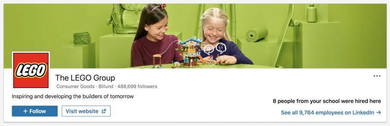 Lego Company - LinkedIn Image Size Example