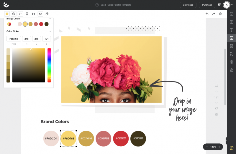 Create a color palette by uploading your image to Easil - grab your hex codes from the color picker at the top left