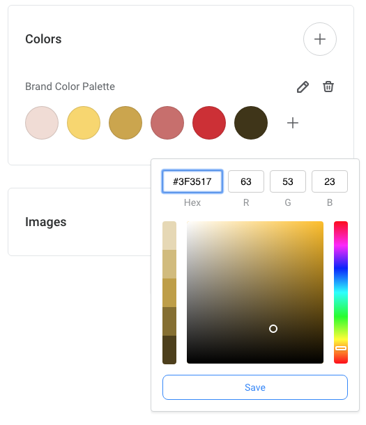 Create a color palette by uploading your image to Easil - then save to Brand Kit