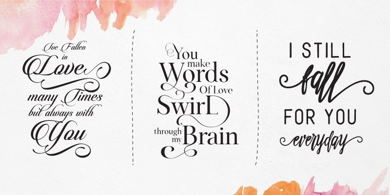 Trio of quote graphics typeset using flourishes and swashes.