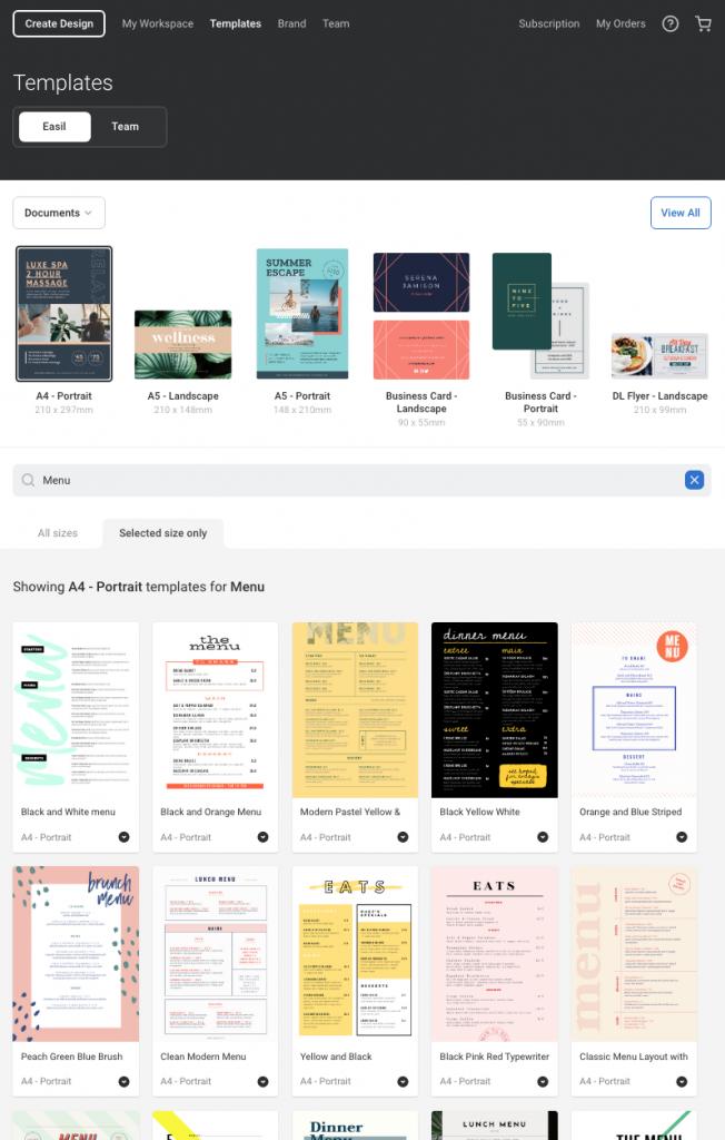 Create a menu