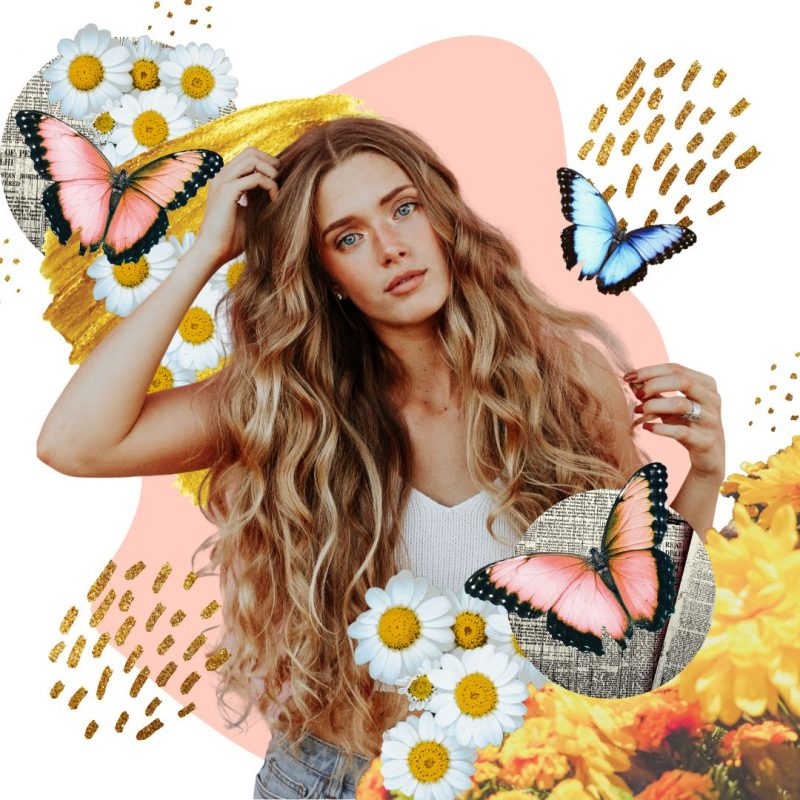 Creative montage profile image template - lady with flowers and butterflies