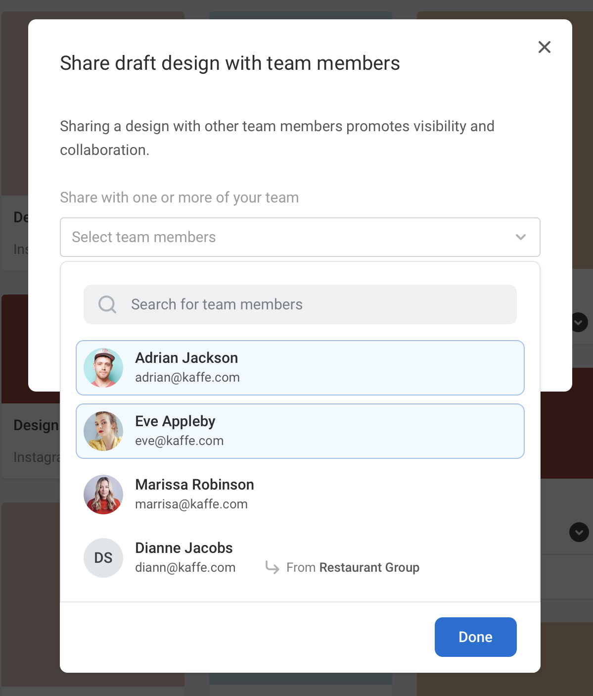 Design a menu with ease - share with team members to collaborate.