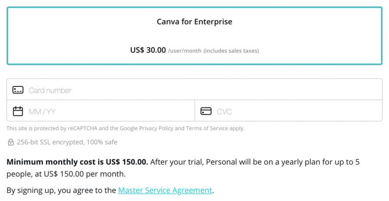Canva Enterprise pricing