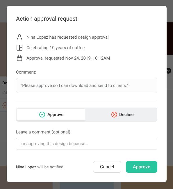Canva Enterprise alternative - Easil Approvals Action request