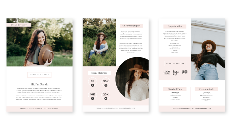 Create a media kit using this pink