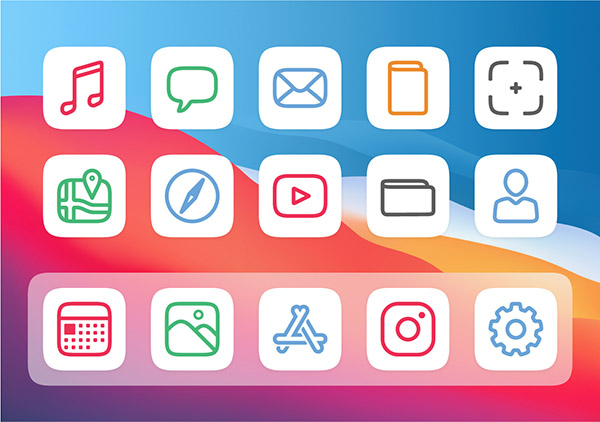 Free customisable iOS 14 icons - Rainbow Color Set