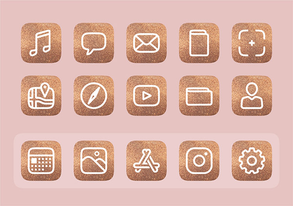 Free customisable iOS 14 icons -Metallic Glitter icon set