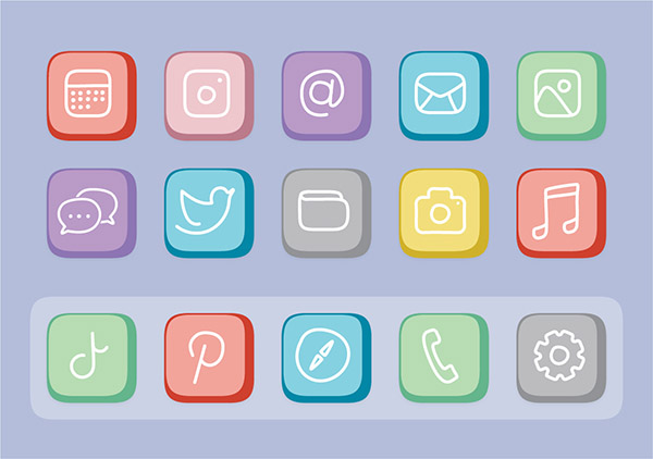 Free customisable iOS 14 icons - Flat Pastel Button Set