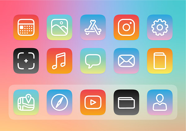 Free customisable iOS 14 icons - Rainbow Background set