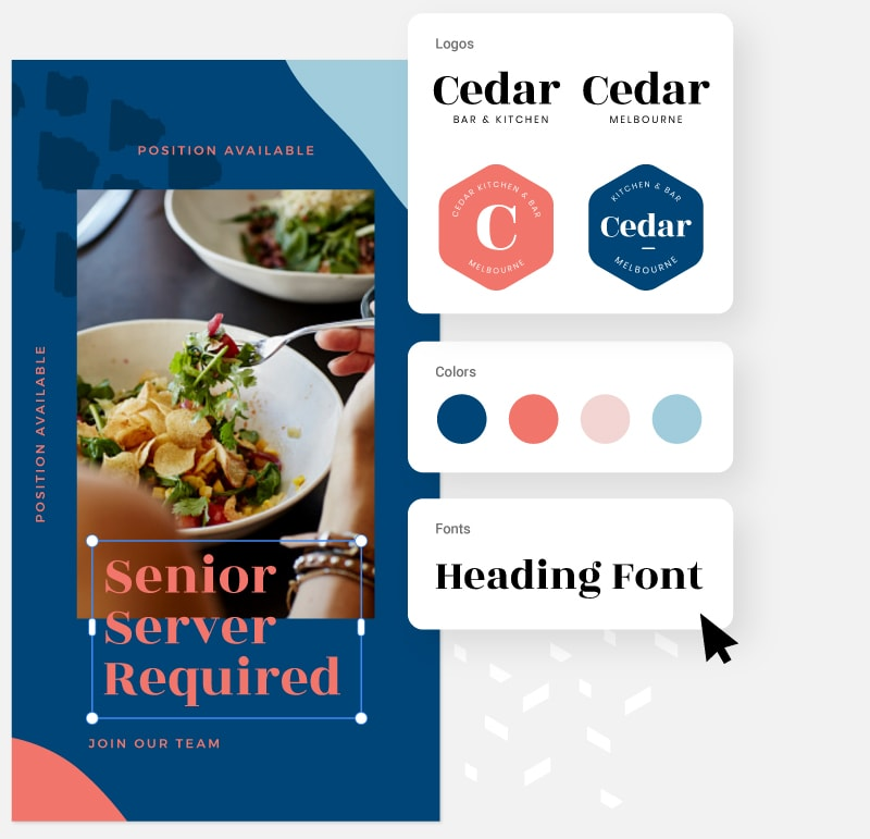 Easil Brand kit with font, logo, color and font picker palettes in brand kit