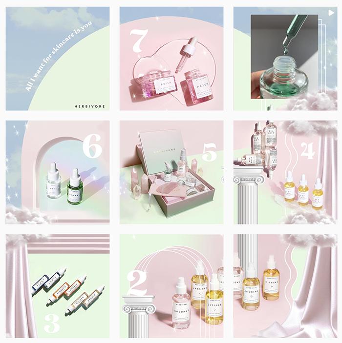 Herbivore Botonicals - example of aesthetically pleasing instagram grid layout