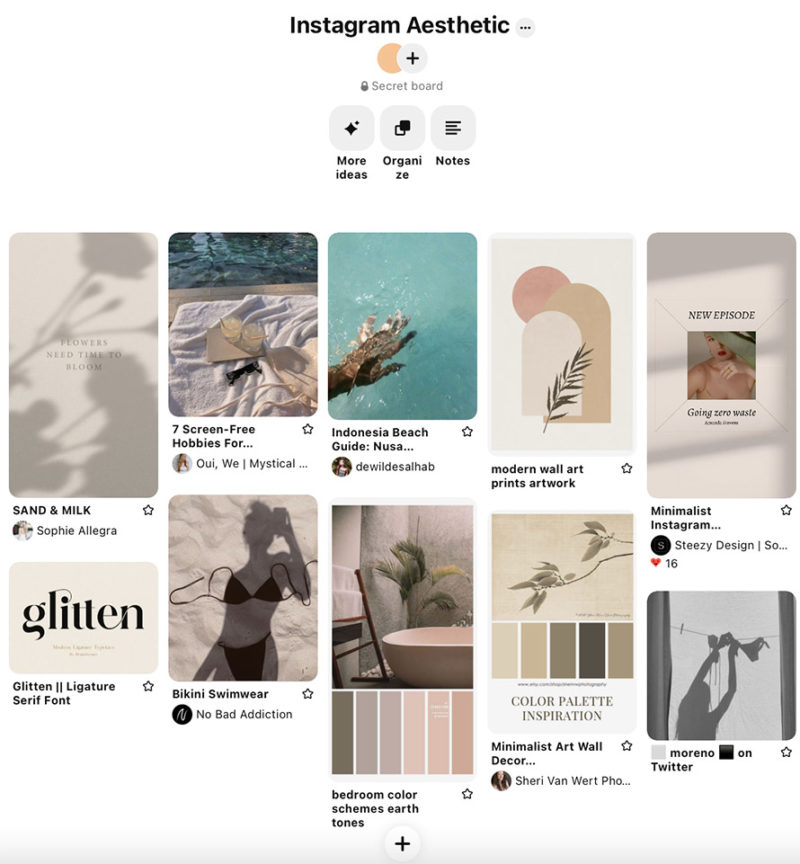 Plan your Instagram Aesthetic using a board on Pinterest to save your visual inspiration.