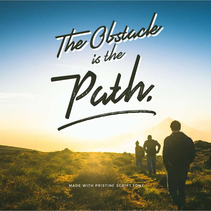 Quote made with Pristine Script Font - The Obstacle is the Path - 93 Best Free Fonts to Create Stunning Designs