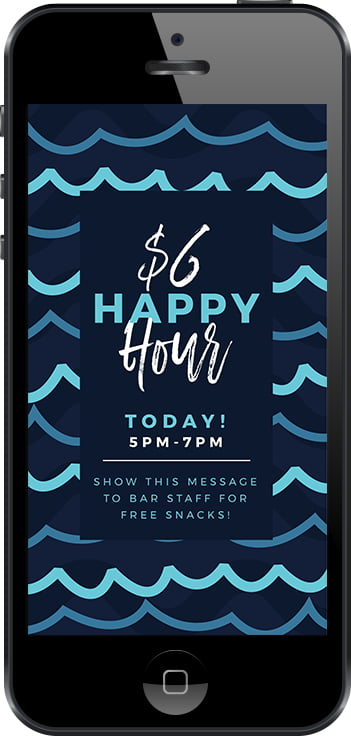 Create a stunning instagram story with this discount offer/happy hour free template