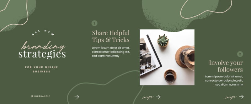 Free Carousel Post Templates - Green Organic Shapes Carousel Template 1 of 2