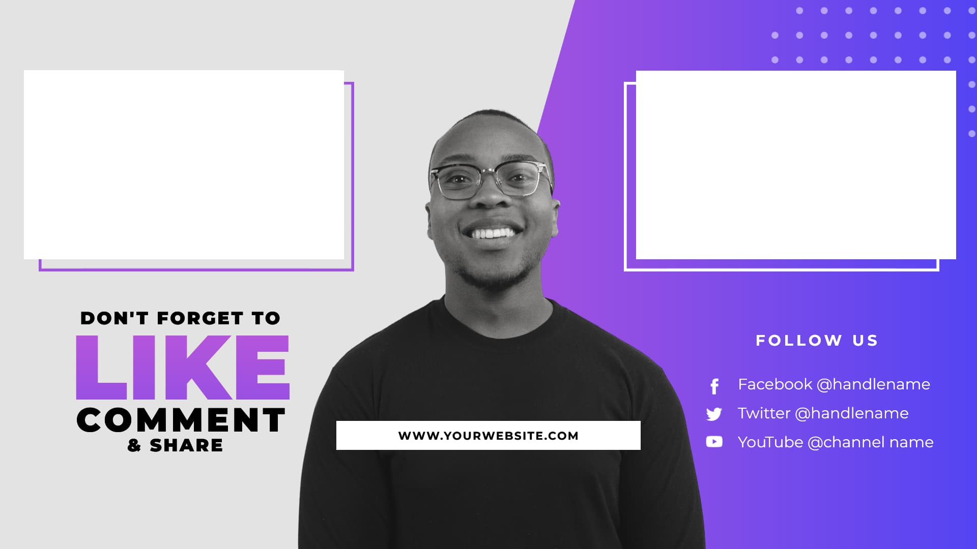 YouTube end screen template with speaker image centered, with video placeholders on either side