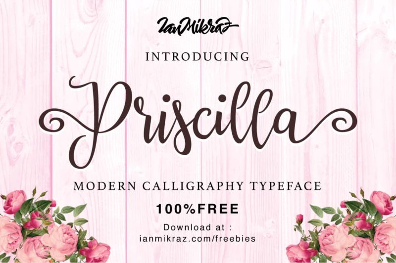 Priscilla Free Font - demonstrating use of flourishes on typography