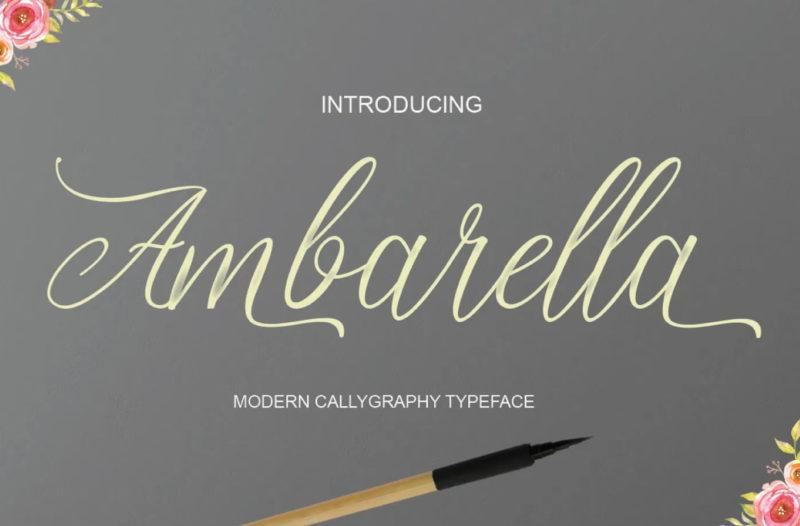 Ambarella Free Font - demonstrating use of flourishes on typography